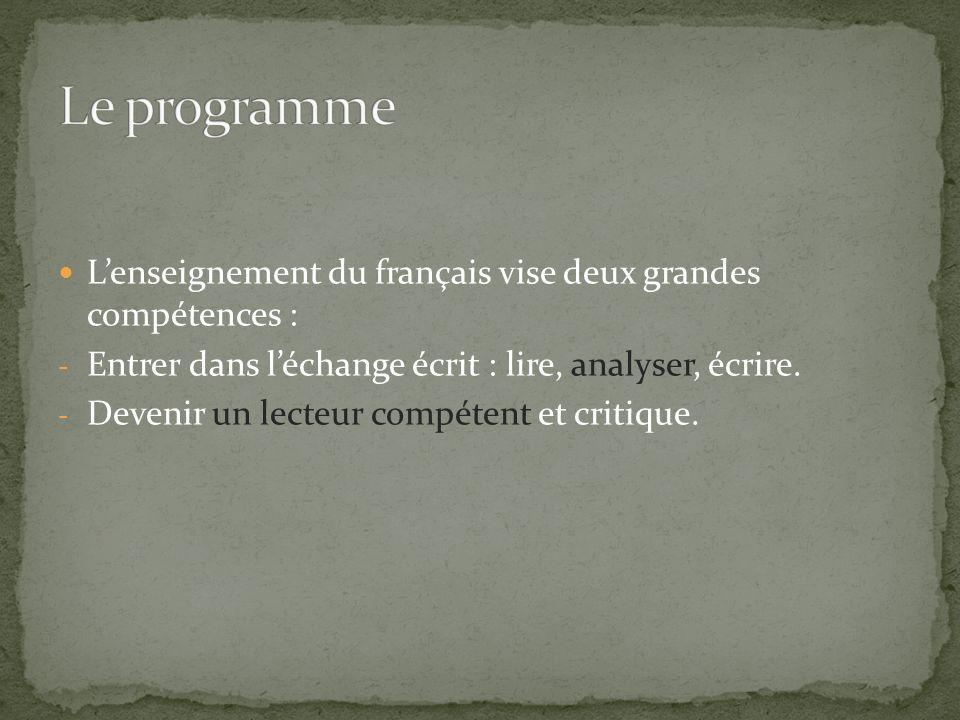 Lenseignement du français vise deux grandes compétences : - Entrer dans léchange écrit : lire, analyser, écrire. - Devenir un lecteur compétent et cri