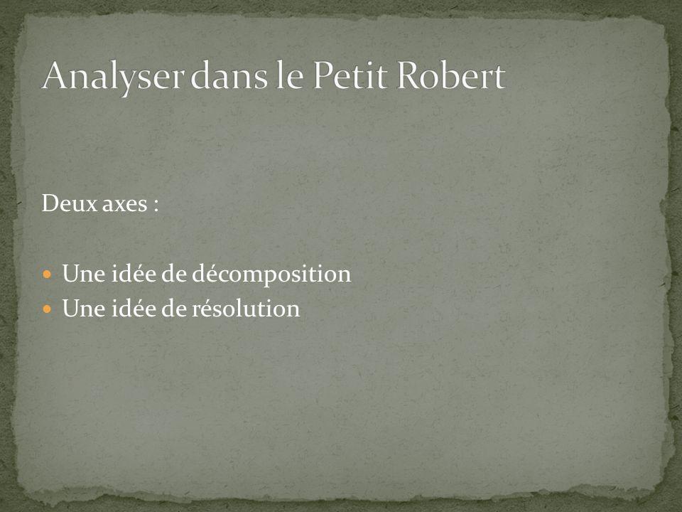 Deux axes : Une idée de décomposition Une idée de résolution