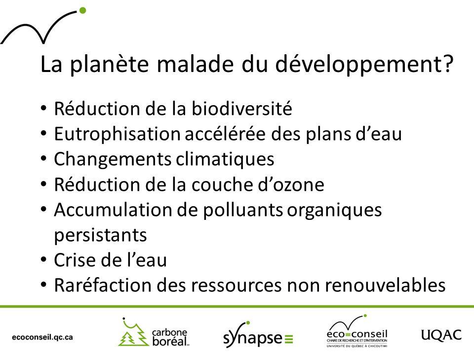 La planète malade du développement? Réduction de la biodiversité Eutrophisation accélérée des plans deau Changements climatiques Réduction de la couch