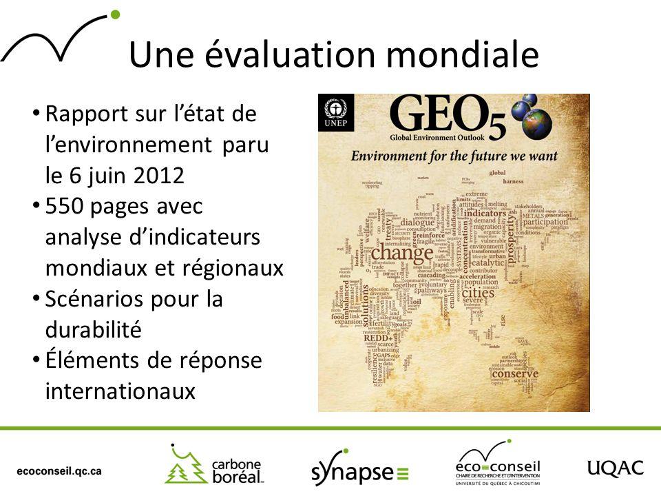 Une évaluation mondiale Rapport sur létat de lenvironnement paru le 6 juin 2012 550 pages avec analyse dindicateurs mondiaux et régionaux Scénarios po