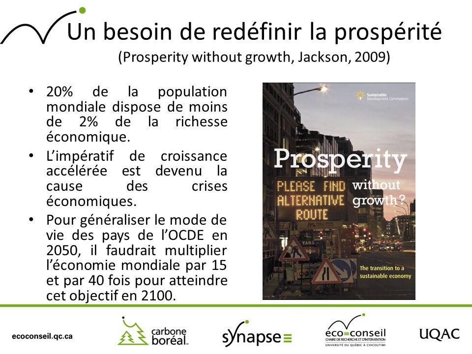 Un besoin de redéfinir la prospérité (Prosperity without growth, Jackson, 2009) 20% de la population mondiale dispose de moins de 2% de la richesse éc