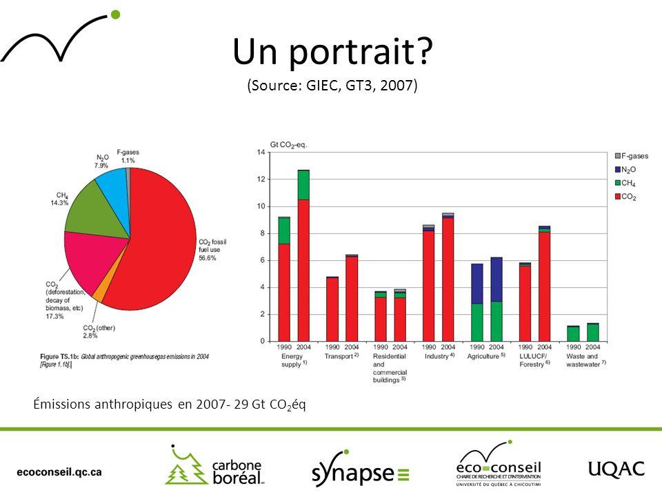 Un portrait? (Source: GIEC, GT3, 2007) Émissions anthropiques en 2007- 29 Gt CO 2 éq