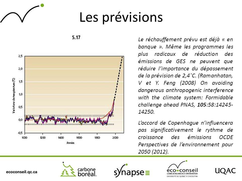 Les prévisions Le réchauffement prévu est déjà « en banque ». Même les programmes les plus radicaux de réduction des émissions de GES ne peuvent que r