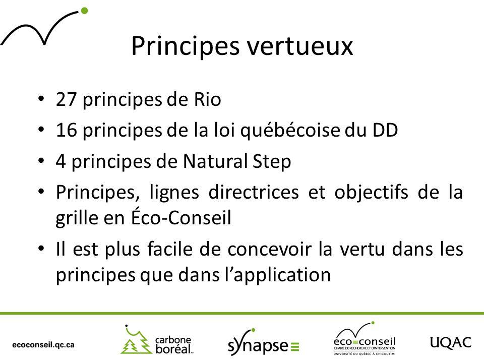 Principes vertueux 27 principes de Rio 16 principes de la loi québécoise du DD 4 principes de Natural Step Principes, lignes directrices et objectifs