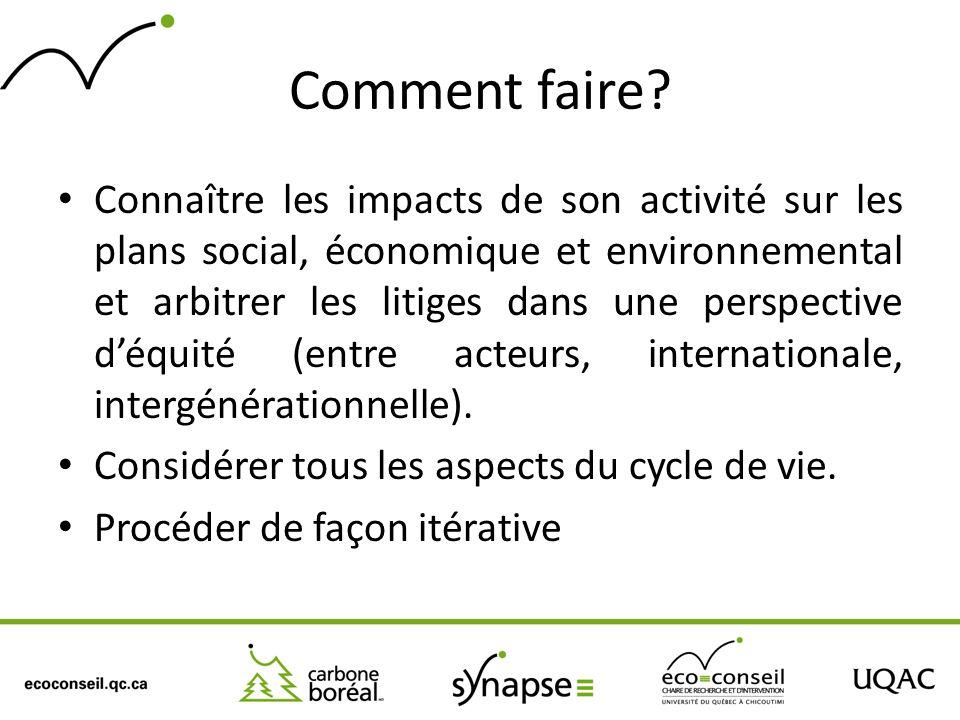Comment faire? Connaître les impacts de son activité sur les plans social, économique et environnemental et arbitrer les litiges dans une perspective