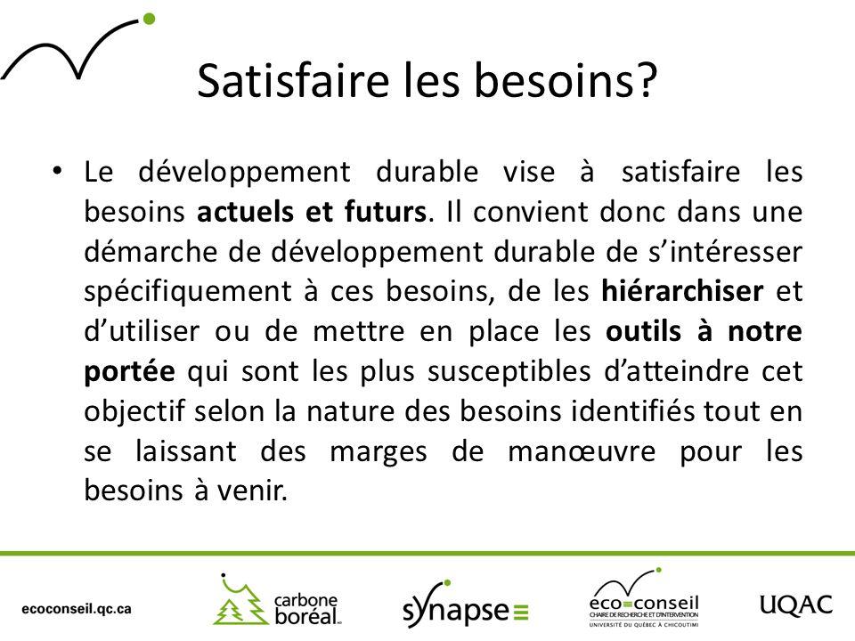 Satisfaire les besoins? Le développement durable vise à satisfaire les besoins actuels et futurs. Il convient donc dans une démarche de développement