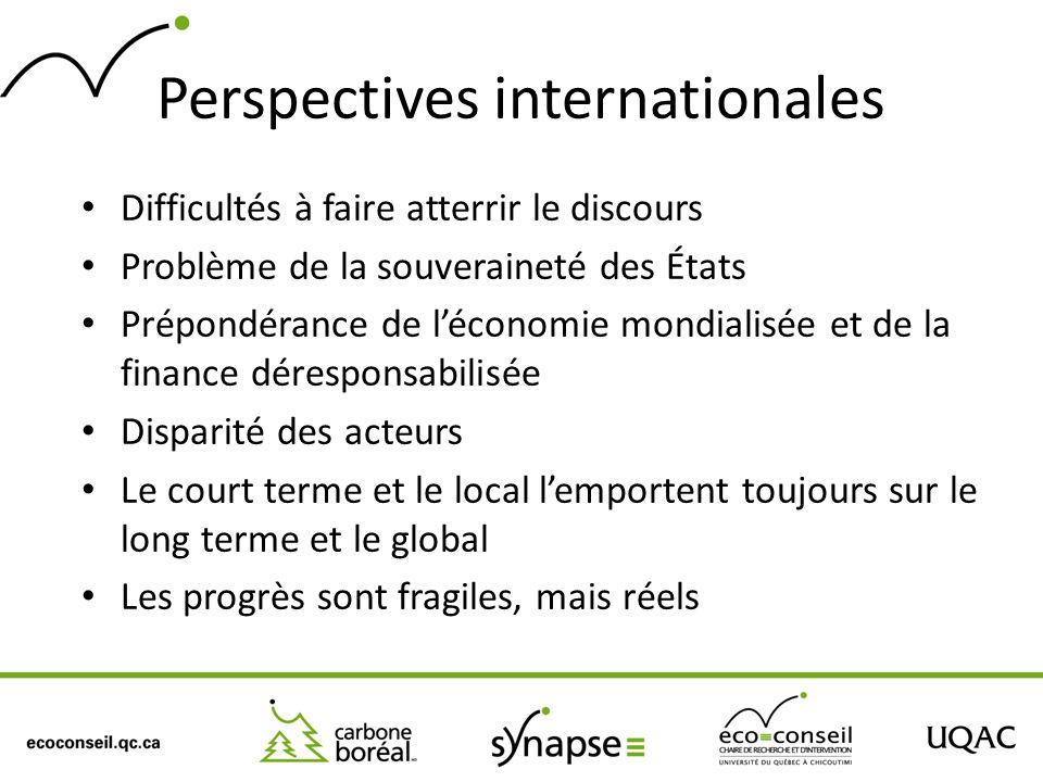 Perspectives internationales Difficultés à faire atterrir le discours Problème de la souveraineté des États Prépondérance de léconomie mondialisée et