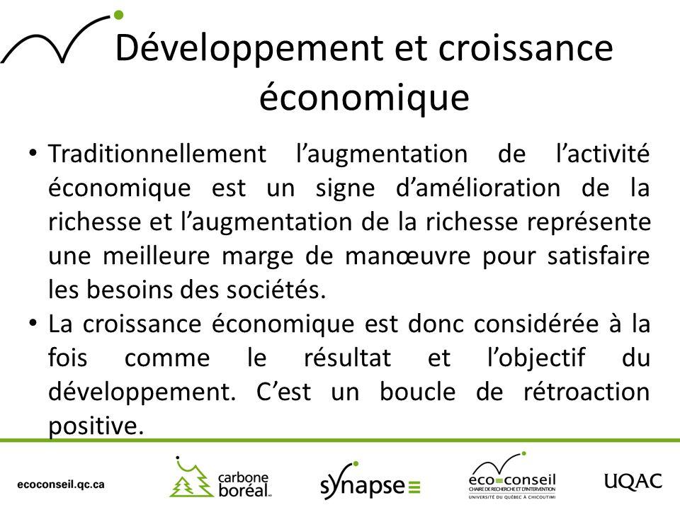 Développement et croissance économique Traditionnellement laugmentation de lactivité économique est un signe damélioration de la richesse et laugmenta