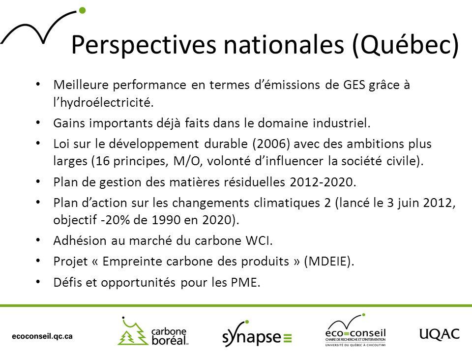 Perspectives nationales (Québec) Meilleure performance en termes démissions de GES grâce à lhydroélectricité. Gains importants déjà faits dans le doma