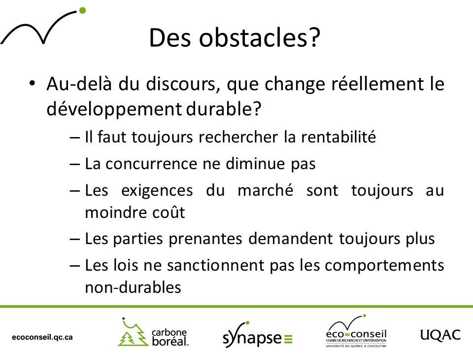 Des obstacles? Au-delà du discours, que change réellement le développement durable? – Il faut toujours rechercher la rentabilité – La concurrence ne d