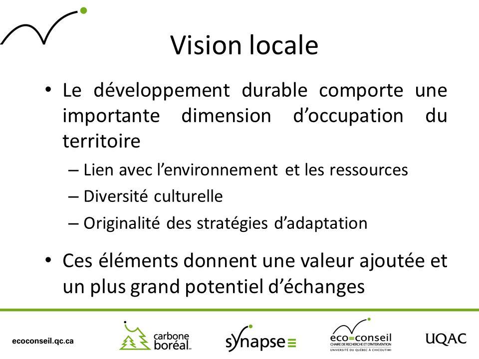 Vision locale Le développement durable comporte une importante dimension doccupation du territoire – Lien avec lenvironnement et les ressources – Dive