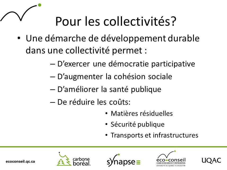 Pour les collectivités? Une démarche de développement durable dans une collectivité permet : – Dexercer une démocratie participative – Daugmenter la c