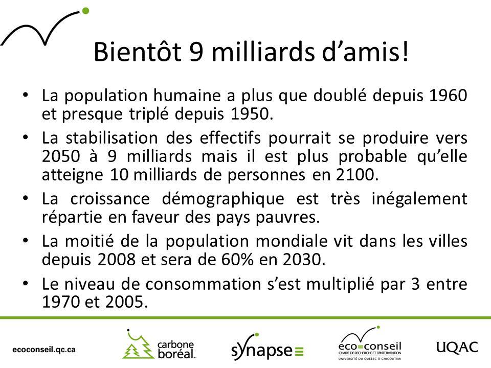 Bientôt 9 milliards damis! La population humaine a plus que doublé depuis 1960 et presque triplé depuis 1950. La stabilisation des effectifs pourrait