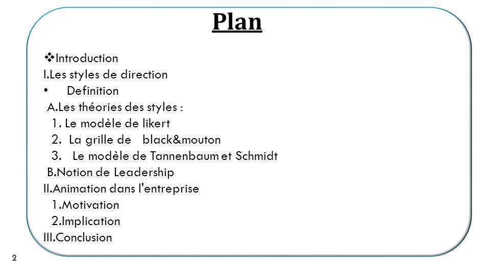 2 Introduction I.Les styles de direction Definition A.Les théories des styles : 1.