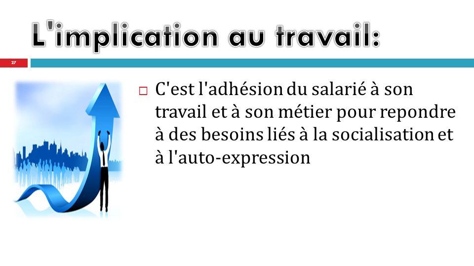 C est l adhésion du salarié à son travail et à son métier pour repondre à des besoins liés à la socialisation et à l auto-expression 27