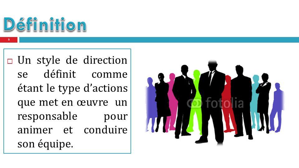 Un style de direction se définit comme étant le type dactions que met en œuvre un responsable pour animer et conduire son équipe.