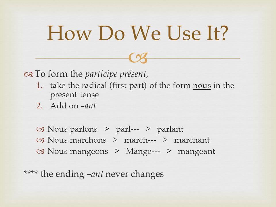 Prendre Let`s Practice Prenant