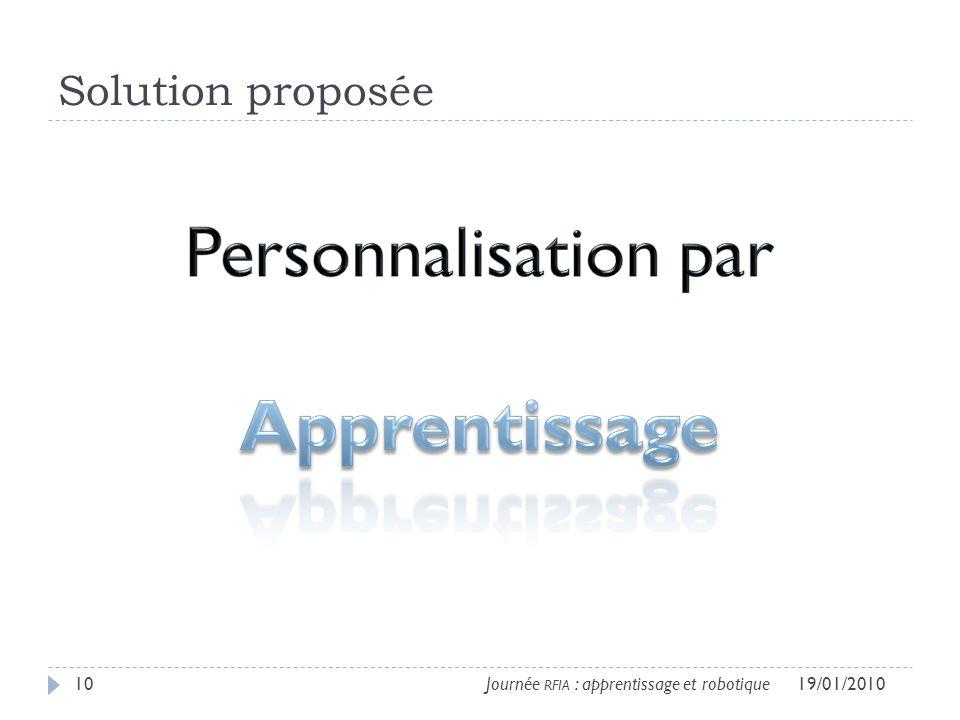 Solution proposée 19/01/201010Journée RFIA : apprentissage et robotique