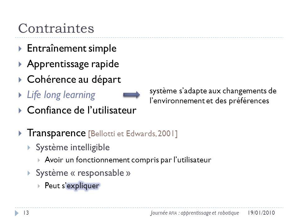 Contraintes 19/01/201013Journée RFIA : apprentissage et robotique système sadapte aux changements de lenvironnement et des préférences