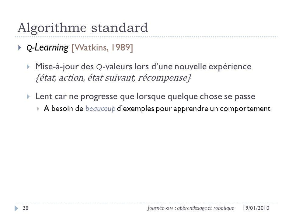 Algorithme standard Q -Learning [Watkins, 1989] Mise-à-jour des Q -valeurs lors dune nouvelle expérience {état, action, état suivant, récompense} Lent car ne progresse que lorsque quelque chose se passe A besoin de beaucoup dexemples pour apprendre un comportement 19/01/201028Journée RFIA : apprentissage et robotique
