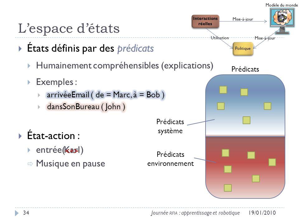 Lespace détats 19/01/201034Journée RFIA : apprentissage et robotique Modèle du monde Interactions réelles Utilisation Mise-à-jour Politique Prédicats Prédicats système Prédicats environnement Karl