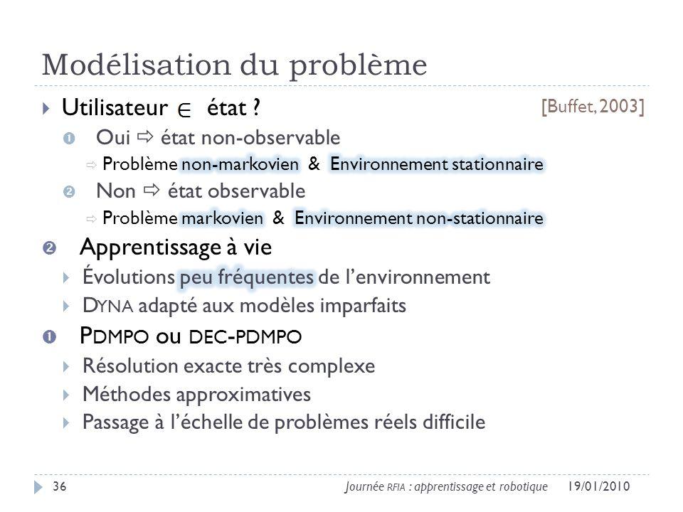 Modélisation du problème 19/01/201036Journée RFIA : apprentissage et robotique [Buffet, 2003]