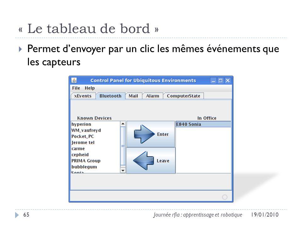 « Le tableau de bord » 19/01/201065Journée rfia : apprentissage et robotique Permet denvoyer par un clic les mêmes événements que les capteurs
