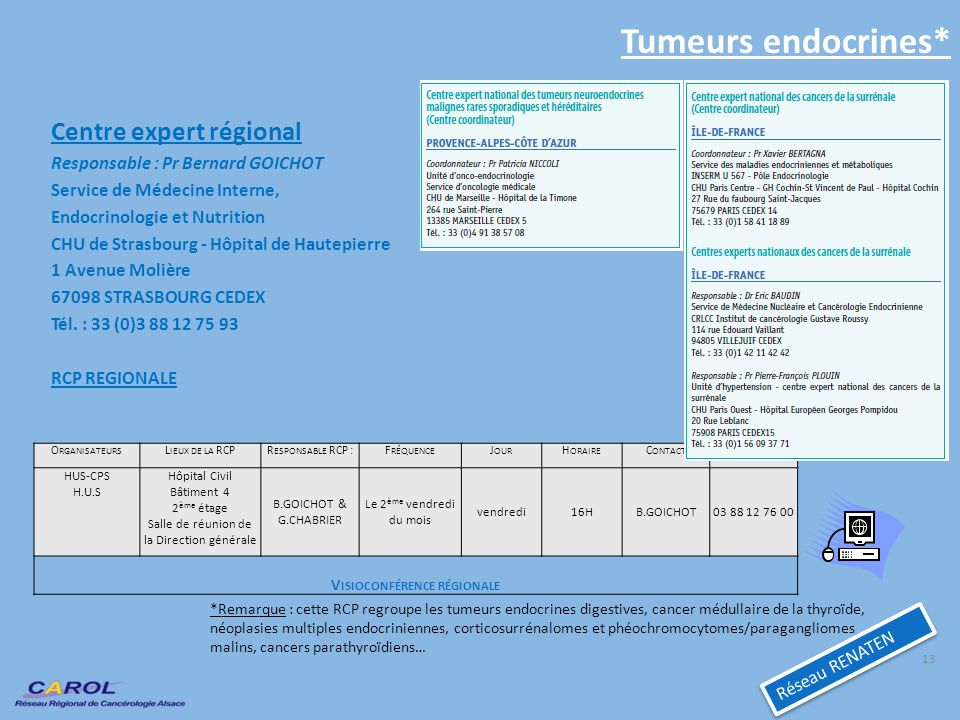 Tumeurs endocrines* Centre expert régional Responsable : Pr Bernard GOICHOT Service de Médecine Interne, Endocrinologie et Nutrition CHU de Strasbourg