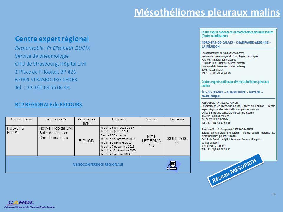 Mésothéliomes pleuraux malins Centre expert régional Responsable : Pr Elisabeth QUOIX Service de pneumologie CHU de Strasbourg, Hôpital Civil 1 Place