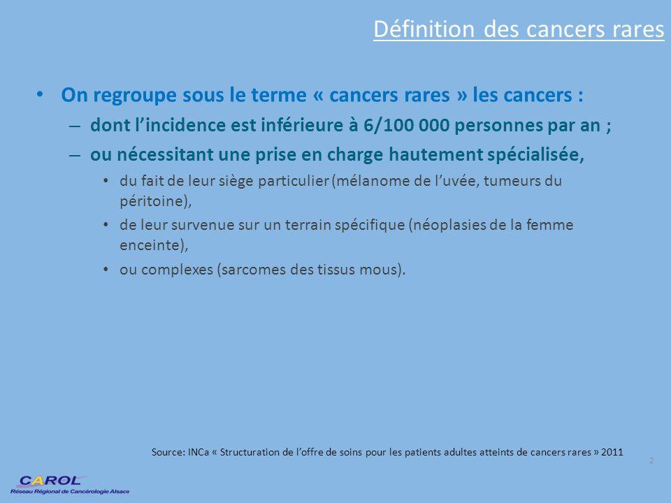 Définition des cancers rares On regroupe sous le terme « cancers rares » les cancers : – dont lincidence est inférieure à 6/100 000 personnes par an ;