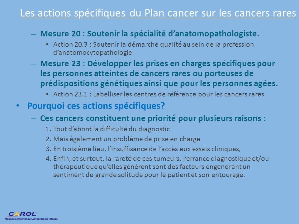 Les actions spécifiques du Plan cancer sur les cancers rares – Mesure 20 : Soutenir la spécialité danatomopathologiste. Action 20.3 : Soutenir la déma