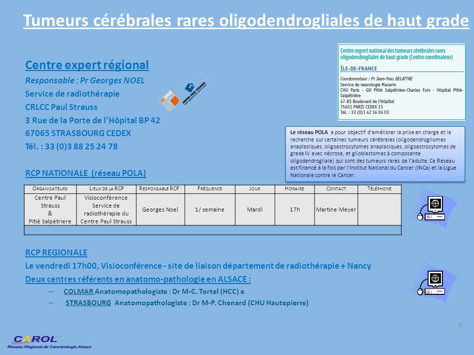 Tumeurs cérébrales rares oligodendrogliales de haut grade Centre expert régional Responsable : Pr Georges NOEL Service de radiothérapie CRLCC Paul Str