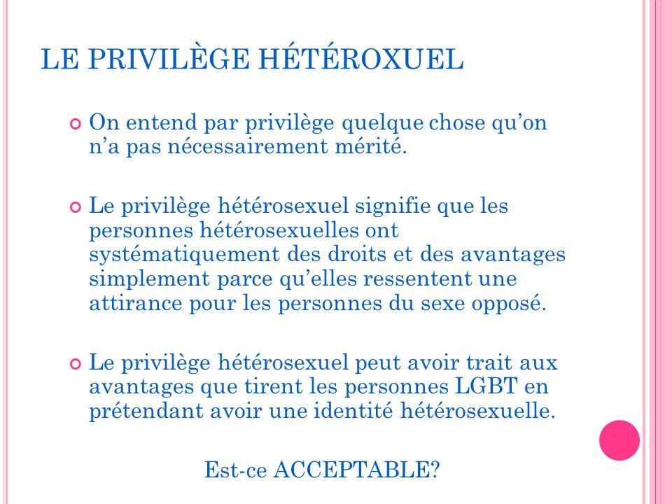 LE PRIVILÈGE HÉTÉROXUEL On entend par privilège quelque chose quon na pas nécessairement mérité.
