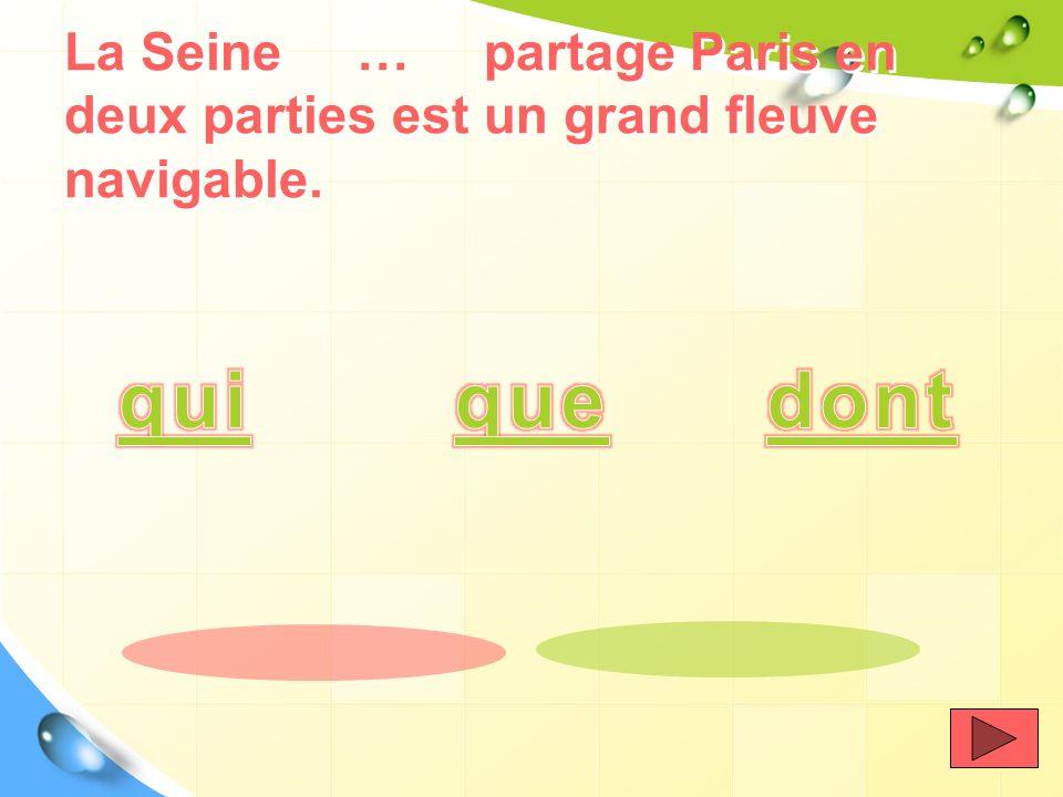 La France est un pays européen …. la capitale est située sur la Seine.