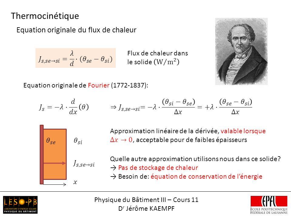 Equation originale de Fourier (1772-1837): Thermocinétique Physique du Bâtiment III – Cours 11 D r Jérôme KAEMPF Equation originale du flux de chaleur Quelle autre approximation utilisons nous dans ce solide.