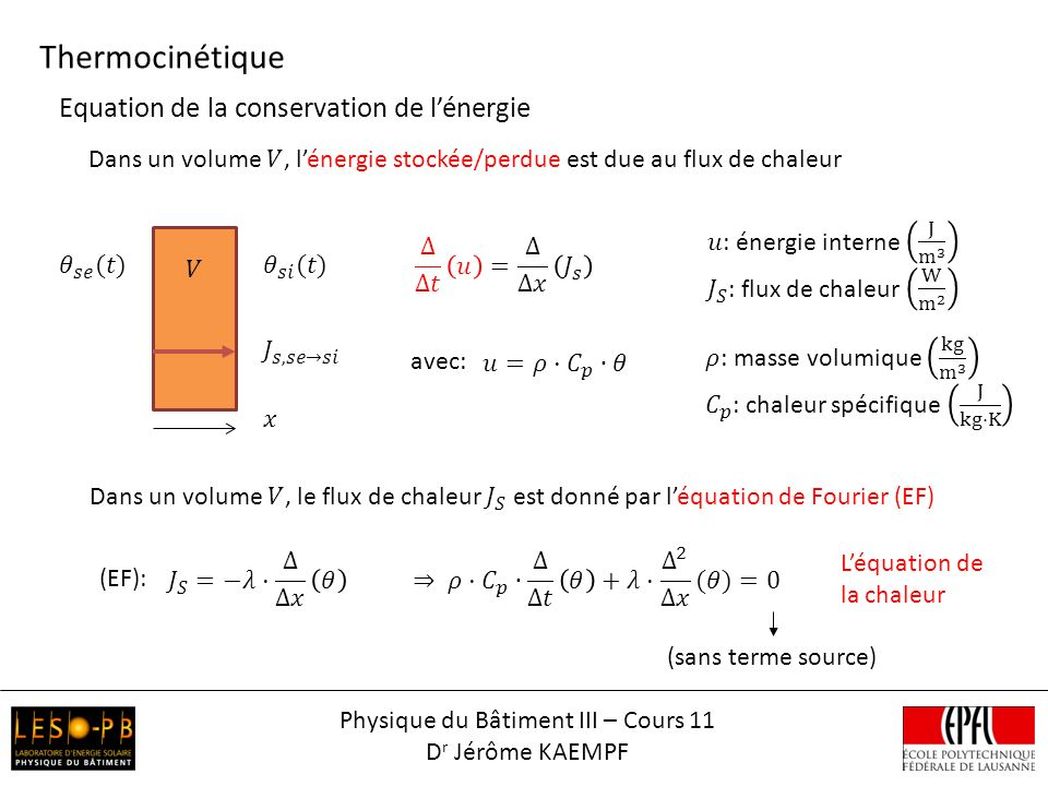 Thermocinétique Physique du Bâtiment III – Cours 11 D r Jérôme KAEMPF Equation de la conservation de lénergie avec: Léquation de la chaleur (sans terme source) (EF):
