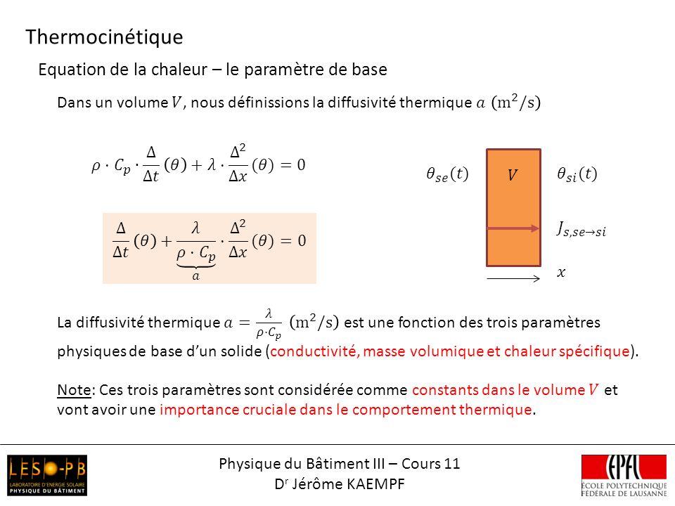 Thermocinétique Physique du Bâtiment III – Cours 11 D r Jérôme KAEMPF Equation de la chaleur – le paramètre de base