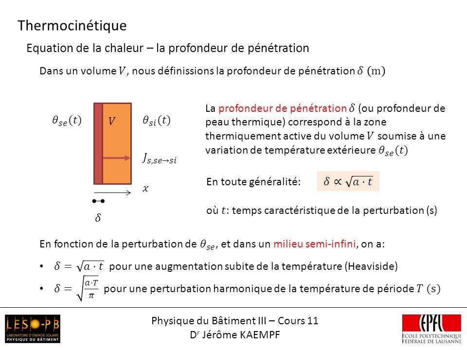 Thermocinétique Physique du Bâtiment III – Cours 11 D r Jérôme KAEMPF Equation de la chaleur – la profondeur de pénétration En toute généralité:
