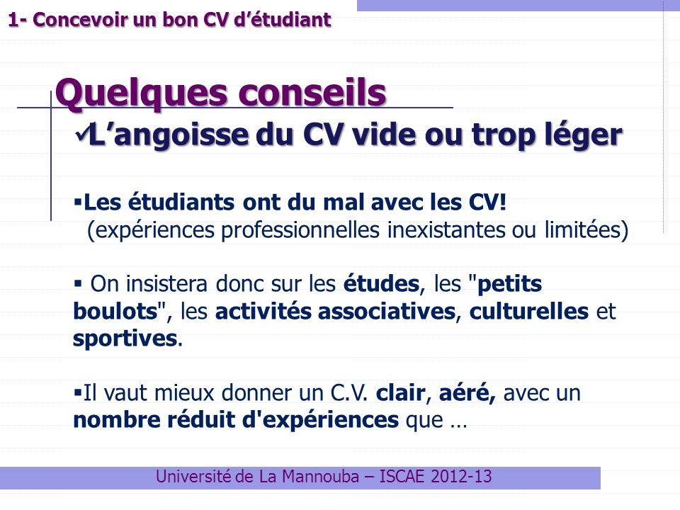 Quelques conseils Université de La Mannouba – ISCAE 2012-13 1- Concevoir un bon CV détudiant Langoisse du CV vide ou trop léger Langoisse du CV vide o