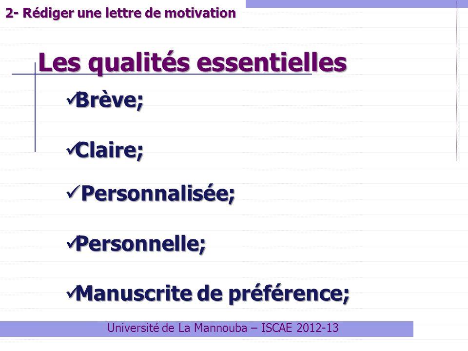 Université de La Mannouba – ISCAE 2012-13 Brève; Brève; Claire; Claire; Personnalisée; Personnalisée; Personnelle; Personnelle; Manuscrite de préféren