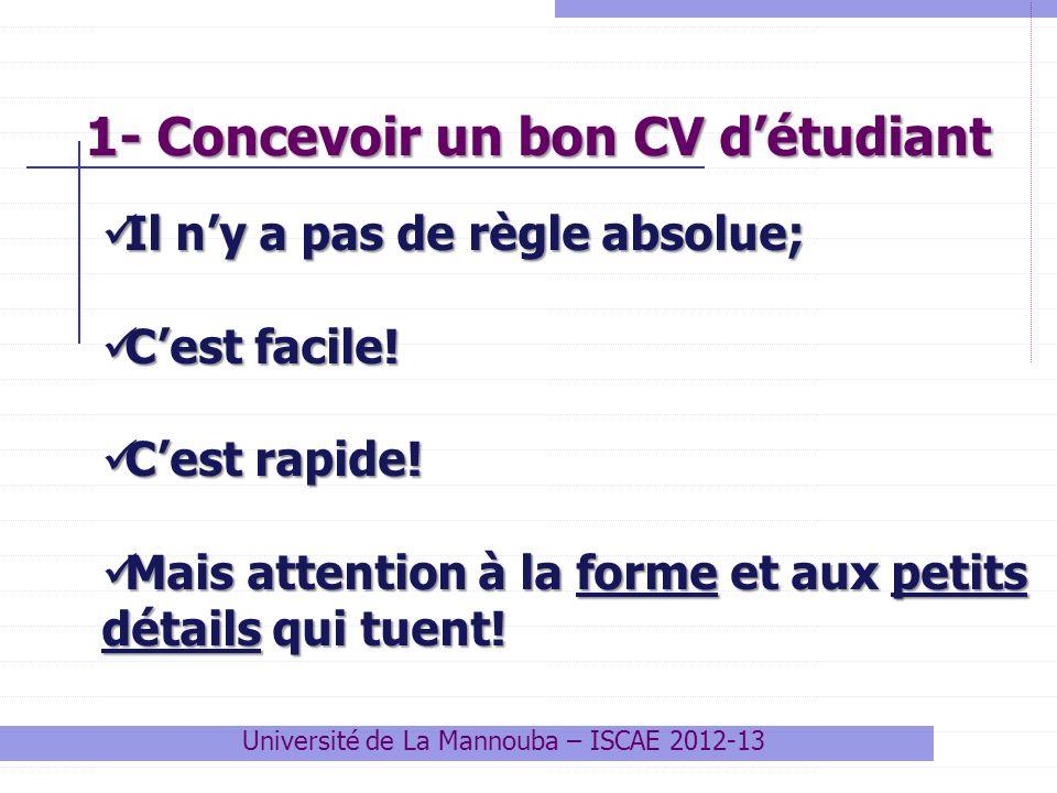 1- Concevoir un bon CV détudiant Université de La Mannouba – ISCAE 2012-13 Il ny a pas de règle absolue; Il ny a pas de règle absolue; Cest facile! Ce