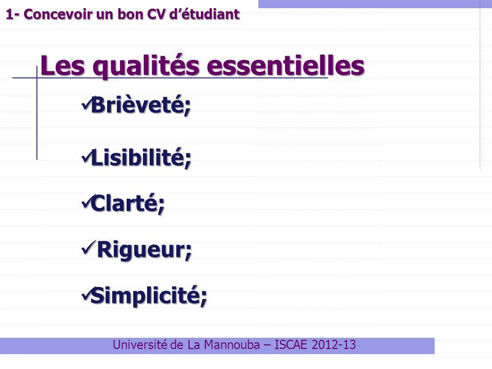 1- Concevoir un bon CV détudiant Université de La Mannouba – ISCAE 2012-13 Brièveté; Brièveté; Lisibilité; Lisibilité; Clarté; Clarté; Rigueur; Rigueu