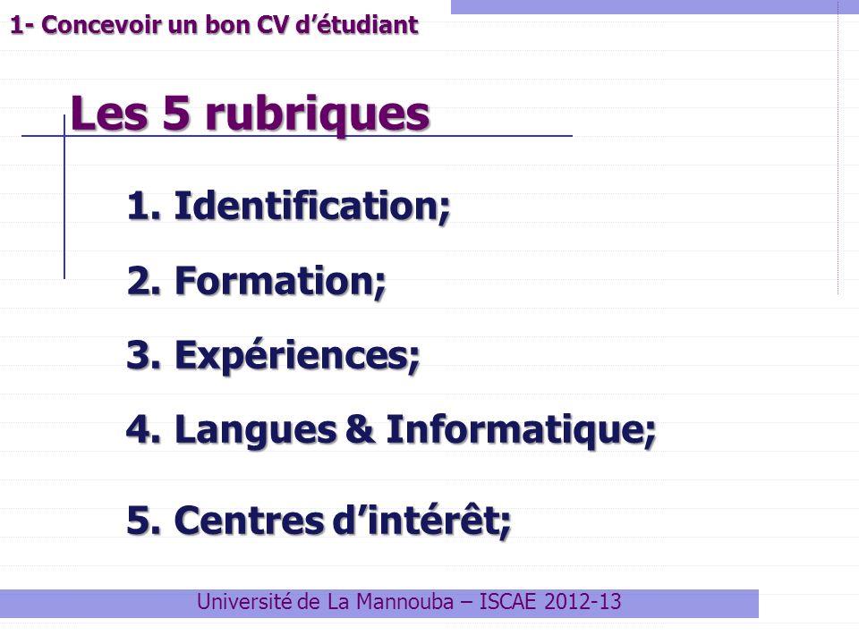 Les 5 rubriques Université de La Mannouba – ISCAE 2012-13 1.Identification; 2.Formation; 3.Expériences; 4.Langues & Informatique; 5.Centres dintérêt;