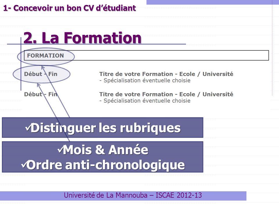 2. La Formation 2. La Formation Université de La Mannouba – ISCAE 2012-13 1- Concevoir un bon CV détudiant Distinguer les rubriques Distinguer les rub