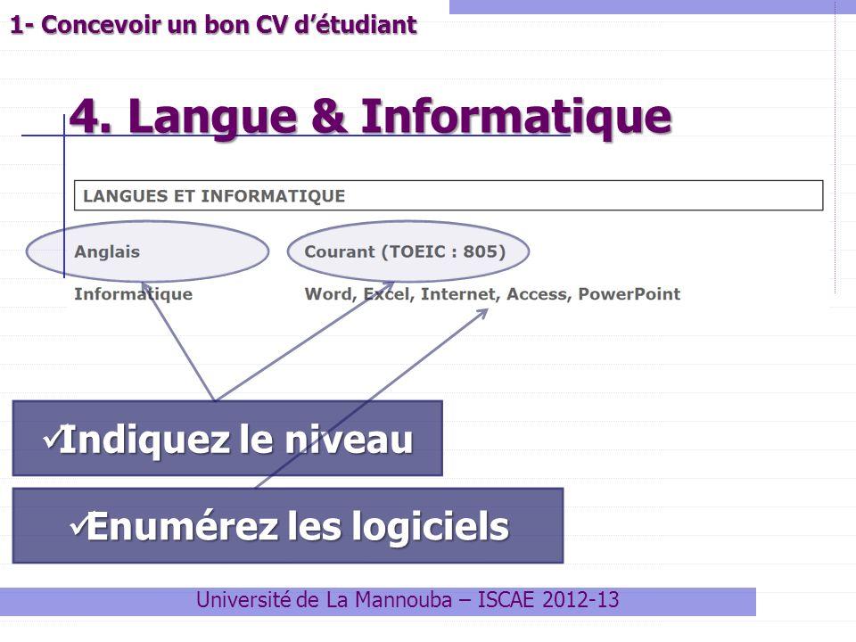 4. Langue & Informatique Université de La Mannouba – ISCAE 2012-13 1- Concevoir un bon CV détudiant Indiquez le niveau Indiquez le niveau Enumérez les
