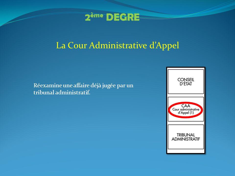 La Cour Administrative dAppel Réexamine une affaire déjà jugée par un tribunal administratif. 2 ème DEGRE