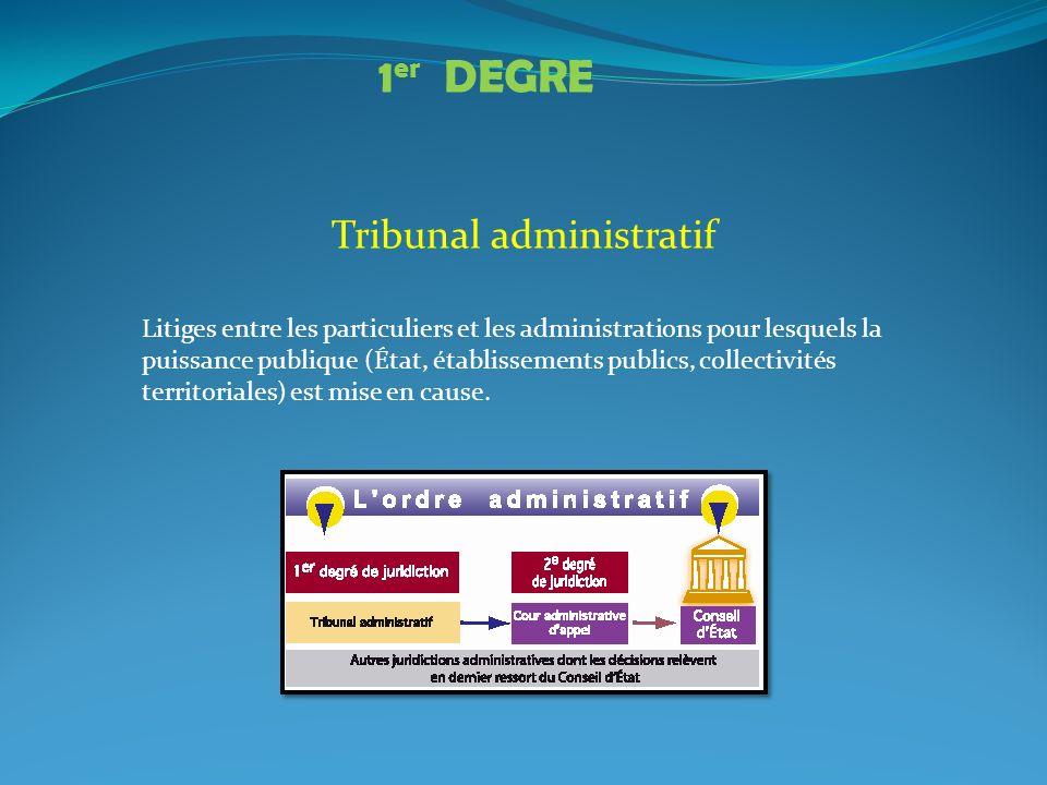 Tribunal administratif Litiges entre les particuliers et les administrations pour lesquels la puissance publique (État, établissements publics, collec