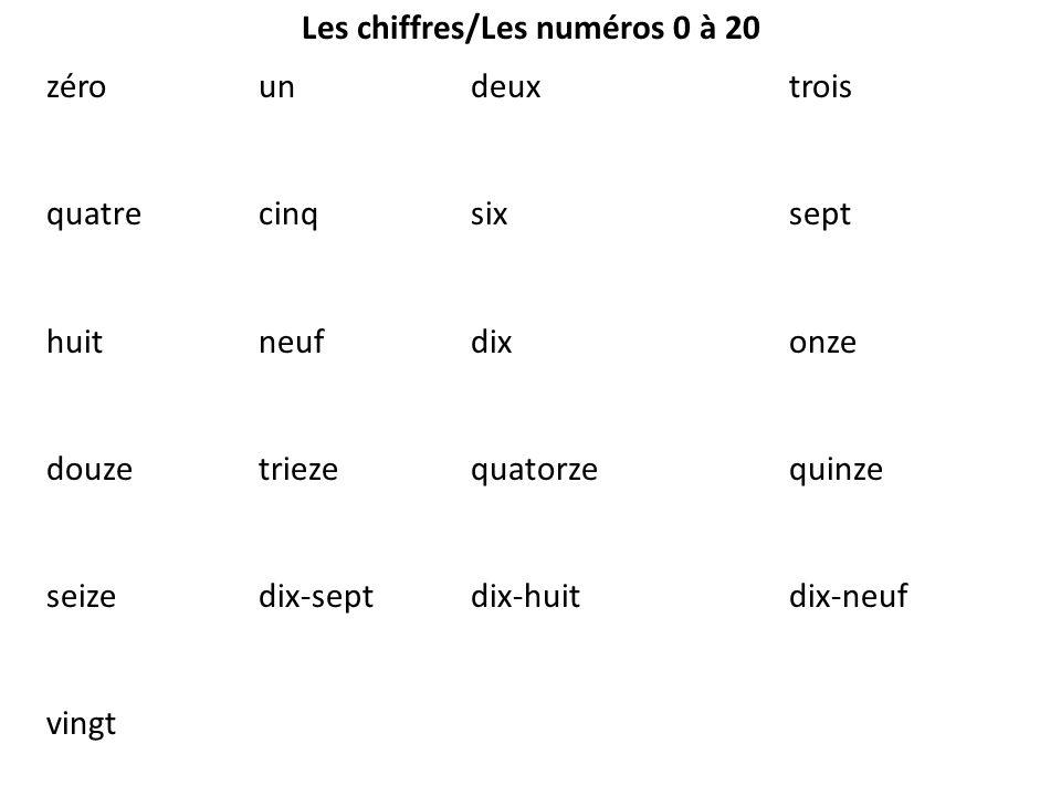 Les chiffres/Les numéros 0 à 20 zéroundeuxtrois quatrecinqsixsept huitneufdixonze douzetriezequatorzequinze seizedix-septdix-huitdix-neuf vingt
