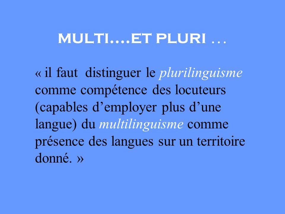 multi….et pluri … « il faut distinguer le plurilinguisme comme compétence des locuteurs (capables demployer plus dune langue) du multilinguisme comme présence des langues sur un territoire donné.