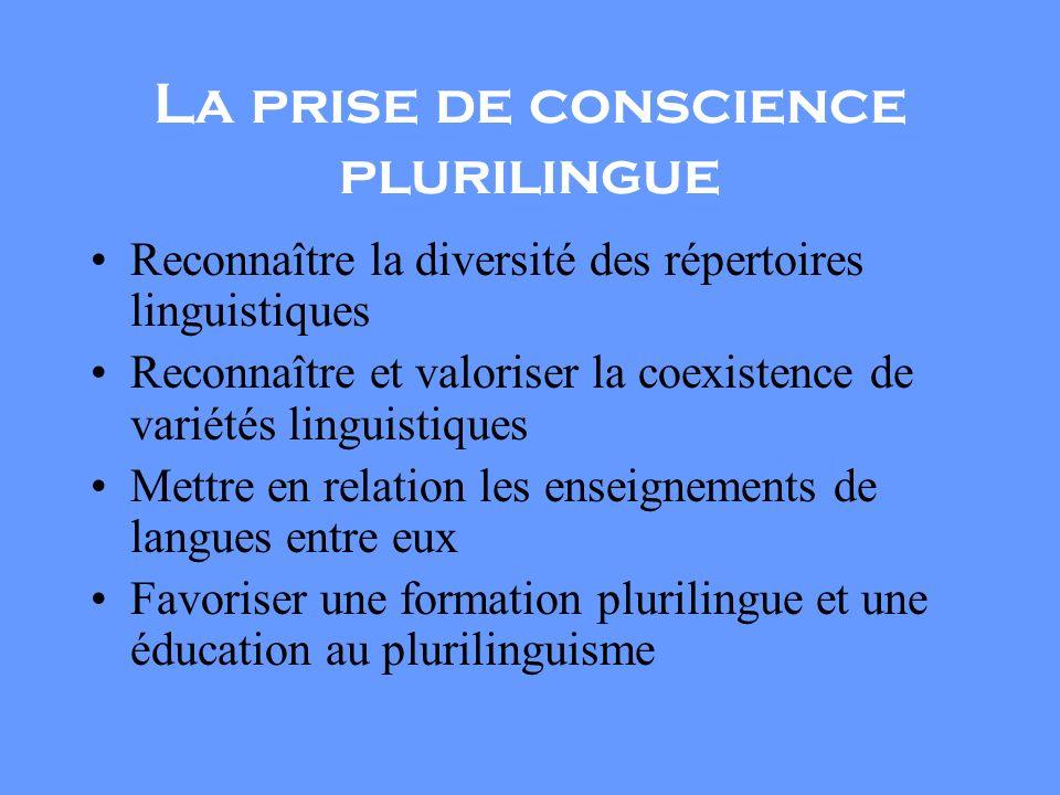 La prise de conscience plurilingue Reconnaître la diversité des répertoires linguistiques Reconnaître et valoriser la coexistence de variétés linguistiques Mettre en relation les enseignements de langues entre eux Favoriser une formation plurilingue et une éducation au plurilinguisme